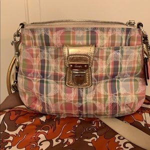 Plaid Coach crossbody bag
